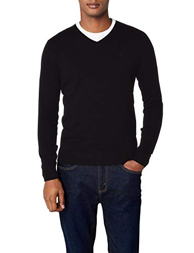 TOM TAILOR Herren Basic V-Neck Pullover, Schwarz (Black 2999), L