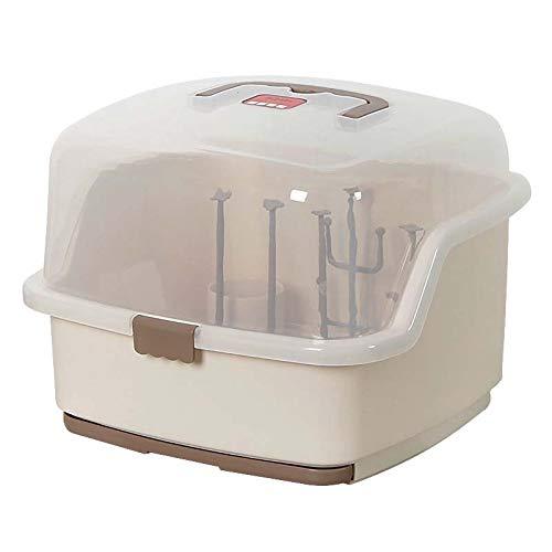 XKMY Estante para secar botellas de bebé, de plástico de grado alimenticio, con funda a prueba de polvo, cajas de almacenamiento para vajilla de bebé (color caqui)