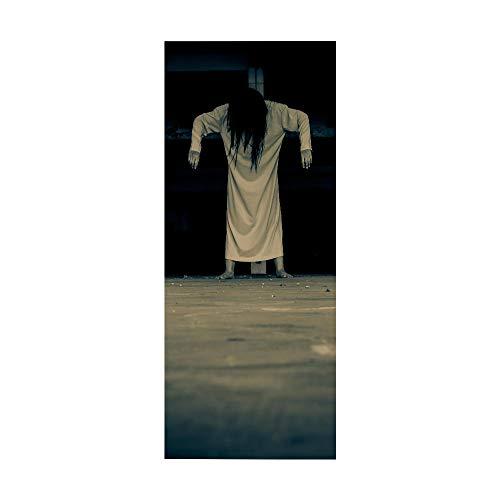BFKJQ Türtapete Selbstklebend TürPoster 2 Stück 3D Beängstigender Sadako Fototapete Türfolie Poster Tapete PVC Wasserdicht Abnehmbare Wandbilder Für Schlafzimmer Bad Studio Büro Dekoration 77x200cm
