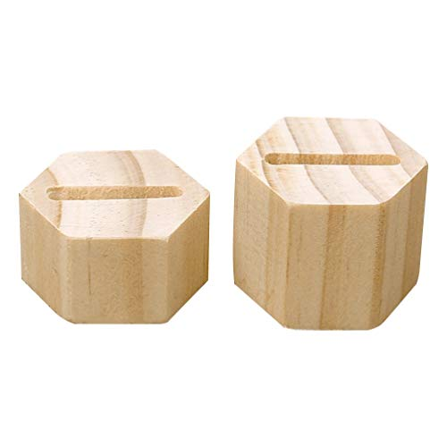 FOMIYES 1 par anillo de almacenamiento soporte de exhibición hecho a mano hexágono joyería almacenamiento estante madera natural anillo titular Nórdico soporte