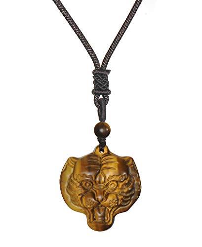 Colgante de cabeza de tigre Collar de amuleto de protección de piedra de ojo de tigre Collar de piedras preciosas de cristal curativo natural para hombres y mujeres