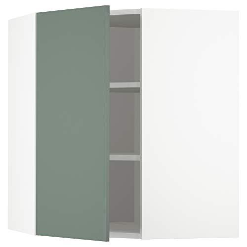 METOD armario esquinero de pared con estantes 67,5x67,5x80 cm blanco/Bodarp gris-verde
