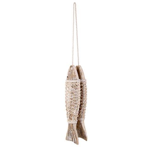 Cadena genérica de 2 peces marinos de madera para colgar en la pared, estilo de playa S