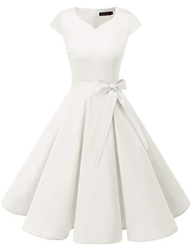 DRESSTELLS Damen 50er Vintage Retro Cap Sleeves Rockabilly Kleider Hepburn Stil Hochzeitskleider Cocktailkleider White M