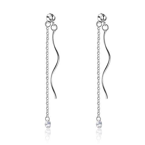 Outflower Eleganti Orecchini ondulati con graziosi Piccoli Orecchini di Diamanti Temperamento Orecchini Lunghi da Donna Dolce