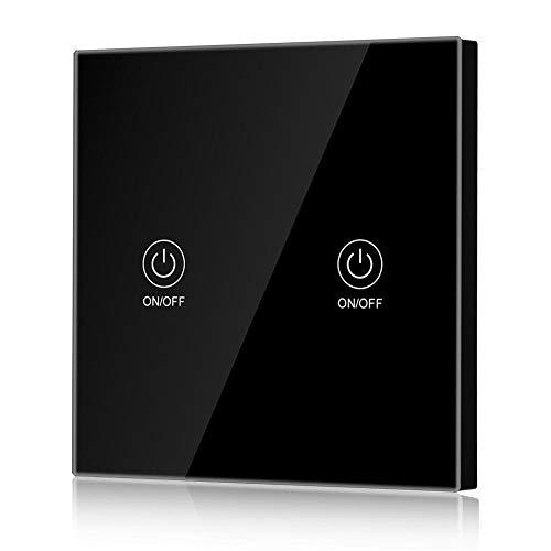Interruttore di Controllo Remoto RF Smart Switch Senza Fili con Pannello di Vetro Touch Switch per Wall Light/Home(2 Gang)
