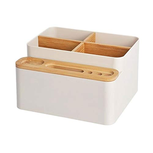 Simple Japan Style Afneembare Desktop Storage Box for Remote Control Mobile Phone make-up kwasten houder Organizer-Apricot (Color : Apricot)