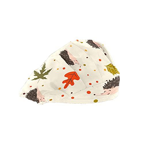 Gorra de mujer para cabello largo con banda elástica ajustable para el sudor Gorras de trabajo para hombres bufanda de cabeza impresa 3D sombreros erizos hojas de otoño