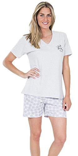 MUSLHER Pijama de Mujer Verano con Estampado de Flor Color Gris (XL)