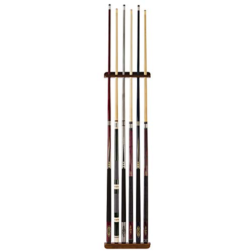 Classic Sport Solid Wood CUE Wall Rack Holds Up to 6 Cues Wall Mounted + Hardware