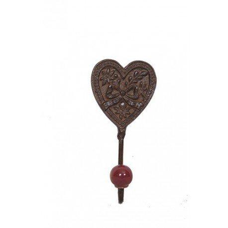 Antic Line patère Coeur 1 Crochet Porcelaine Burgandy