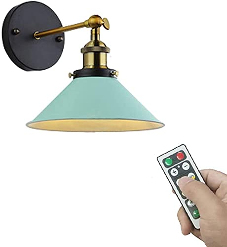 LUFISH Led Remote Control Battery Run Cordless Lamp Light Green Wall Sconce Light Fixture for Bedroom Bathroom Wall Decor- Dimmable,Battery Not Included