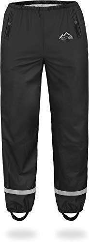 normani Kinder-Regenhose 2-Wege-Stretch Überziehhose Unisex für Jungen und Mädchen ungefüttert - Wasserdicht (Wassersäule: 5000 mm, Winddicht und Atmungsaktiv Farbe Schwarz Größe L/146-152