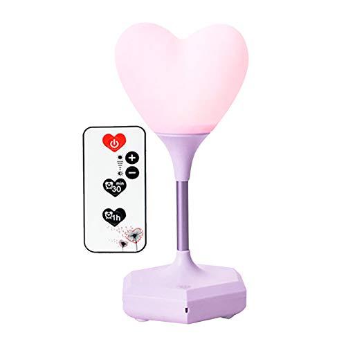 Watopi - Lámpara de escritorio con forma de corazón para el día de San Valentín, con carga USB, de silicona, con mando a distancia