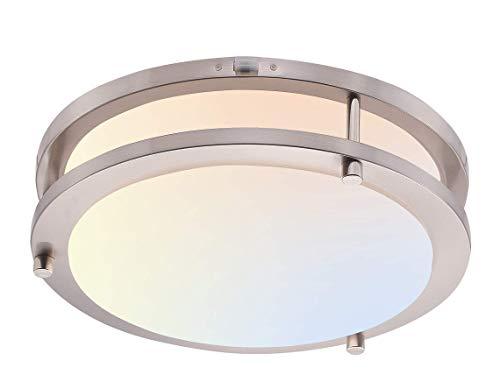 Cloudy Bay LED Flush Mount Ceiling Light,10 inch,120V 17W Dimmable 1050lm,3000K/4000K/5000K Adjustable,CRI 90+, Brushed Nickel Lighting Fixture for Kitchen,Hallway,Bathroom,Stairwell,Damp Location