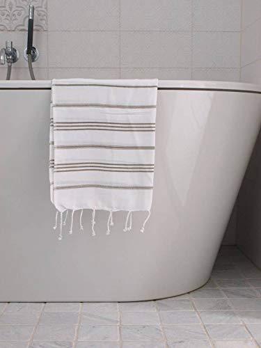 Hamam Handdoek Wit Met Olijfgroene Strepen 100x50cm - sneldrogende handdoeken - saunadoek - kleine hamamdoek - reishanddoek - zwem handdoek