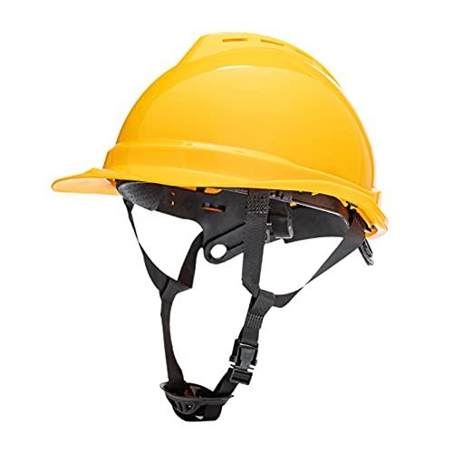 perfeclan Casco de seguridad, casco ajustable, protección para la cabeza, casco de seguridad para constructor de ingenieros de escalada - Amarillo
