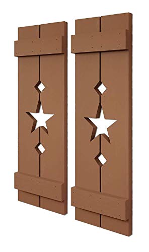 Amish Star Wooden Shutters, Interior Window Shutters, Country Home Decor, Rustic Home Decor, Pair of Shuttters - 20 Colors - Lab Brown