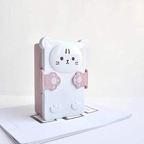 WXX Cartoon Lovely Bento Boxes Doble Capa de plástico Sandwich Lunch Box Microondas Horno Box for niños (Verde) (Color : Pink)