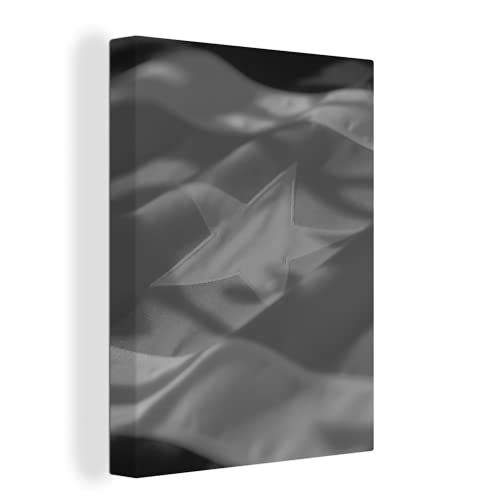 Leinwandbild - Die Flagge von Suriname - schwarz & weiß - 30x40 cm