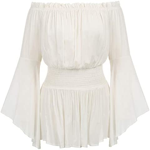 Womens Plus Size Long Bell Sleeve Ruffle Off Shoulder Boho Blouse Top Ivory 18W product image