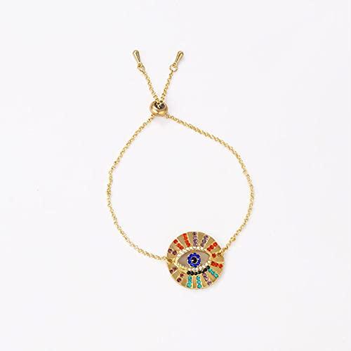 CXWK Moda geometría Redonda Mal de Ojo Pulsera para Mujer Vintage CZ Cristal Oro Cadena Ajustable Brazalete joyería