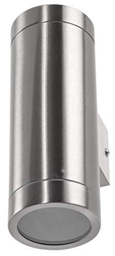 Aluminium spot muurspot IP44 GU10-2-vlammig roestvrij staal gepolijst