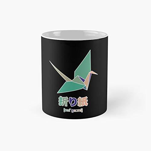 Origami Crane Green Peach Classic Mug | Best Gift Funny Coffee Mugs 11 Oz