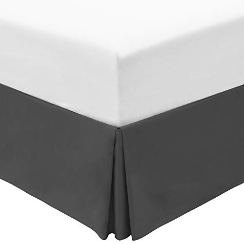 Mellanni Queen Bed Skirt - 15-Inch Tailored Drop Pleated Dust Ruffle - 1800 Double Brushed Microfiber Bedding - Easy Fit, Wrinkle, Fade, Stain Resistant (Queen, Gray)