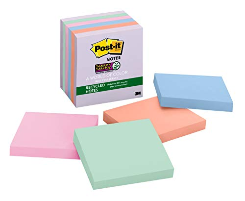 Post-it Super Sticky Recycled Notes, 3x3 in, 6 Pads, 2x the Sticking Power, Bali Collection, Pastel Colors (Lavender, Apricot, Blue, Pink, Mint), 30% Recycled Paper (654-6SSNRP) (Office Product)