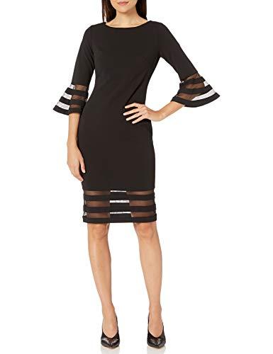 Calvin Klein Damen Bell Sleeve Sheath with Sheer Inserts Dress Kleid, schwarz 2, 36
