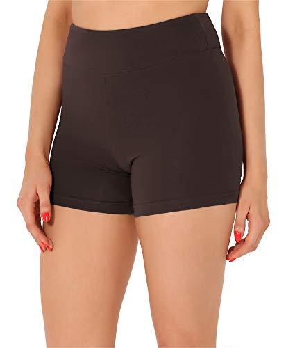 Merry Style Damen Shorts Radlerhose Unterhose Hotpants Kurze Hose Boxershorts aus Baumwolle MS10-359(Braun,S)