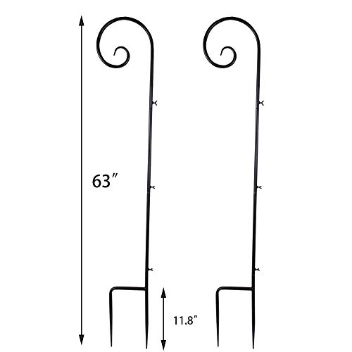 Vencer Set of 2 Shepherd Hook 63 Inch Tall 7/10 in Thick Rust Resistant Premium Metal Hook for Weddings Hanging Plant Baskets Solar Lights Christmas Lights Lanterns Bird Feeders,Black,VHH-001