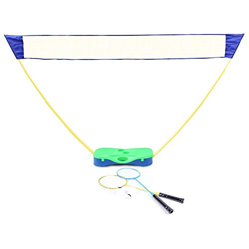 DRM 3 in 1 Outdoor Folding Adjustable Badminton SetTennis Volleyball Net with Stand Storage Box Base with Battledore