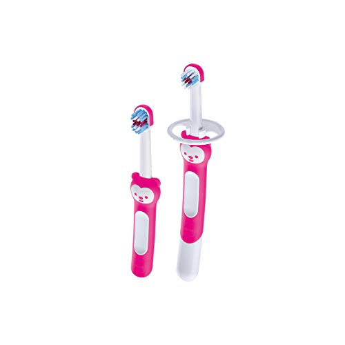 MAM Learn to Brush Set, Baby Zahnbürste mit langem Griff zum gemeinsamen Halten, Kinderzahnbürste trainiert das Zähneputzen, ab 5+ Monate, rosa