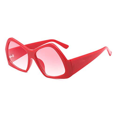 SWNN gafas de sol Retro Personalidad Irregular Gafas De Sol Gran Frontera Moda UV400 Protección Unisex Rojo