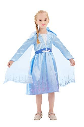 IKALI Disfraz de Princesa para Niñas Trajes de Reina de Lujo para Niños Vestido Azul con Capa