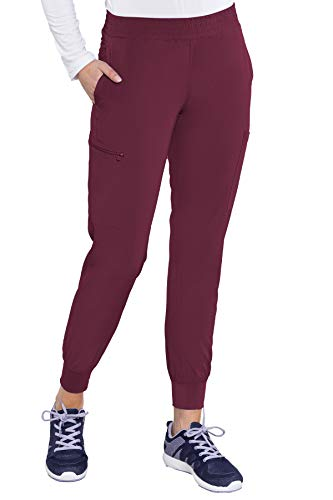 Med Couture Pantalón deportivo Energy con cintura fruncida para mujer, Vino, S Alto