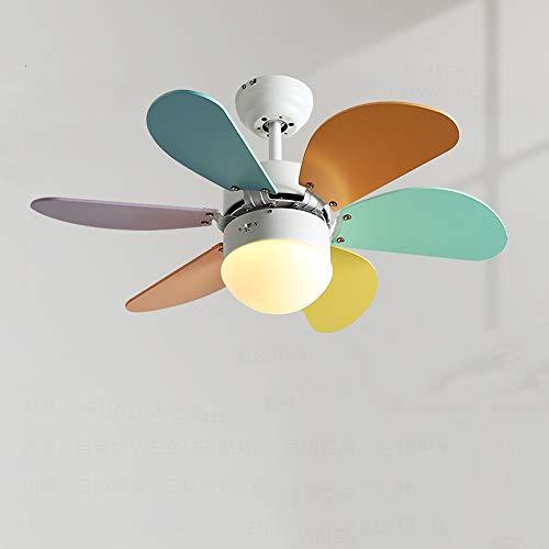 SZSBLT Ventilador de Techo de Madera Macaron Candelabro con Ventilador de iluminación, Control Remoto, Motor silencioso de 30 Pulgadas y 3 velocidades, Ventilador de Techo Regulable