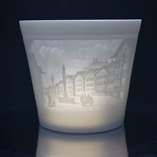 Porzellan Windlicht - Bad Tölz, Lithophanie Teelicht Tischlicht Bisquitporzellan 9 cm