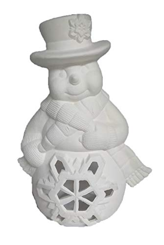 Snowman Candle Holder 11' Ceramic Bisque, Ready to Paint