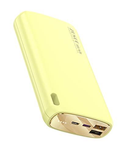Kuulaa Powerbank 26800 mAh batería externa macrone color Dual Output Cargador portátil batería externa Pack para iPhone XR/XS/X/8/7/6, iPad, Samsung, Huawei(velocidad normal, amarillo)