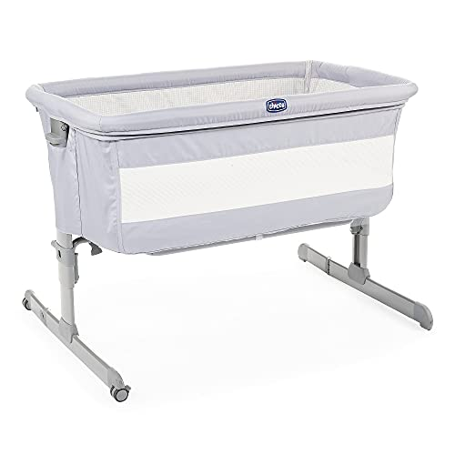 chicco Next2Me Bedside Baby Crib - Co-Sleeping Baby Cot with Mattress, Detachable Side, Adjustable Height, Mesh Window, Wheels and Travel Bag - 0-6 Months, Grey New, 9 kg