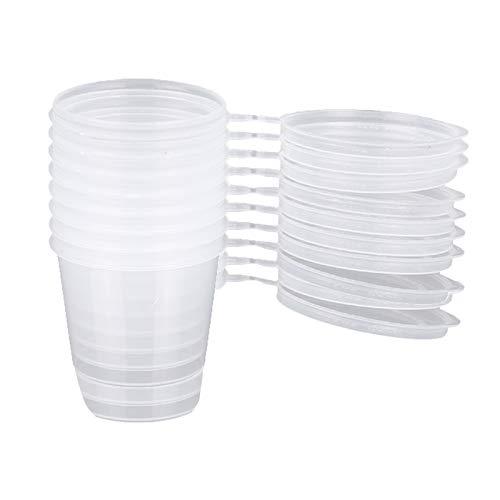 Guanici Vasos de Salsa Desechables de plástico Tazas de Salsa de Plástico con Tapas Contenedores de Limo para la preparación de Alimentos, Salsas y ensaladas pequeñas y Cereales 50 Piezas (50 ml)