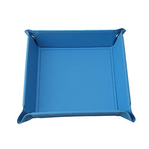 LJSLYJ Würfelteller Klapp Würfel Halter PU Kunstleder Würfel Tablett für Tischspiele und Kleinigkeiten Lagerung(Blau)