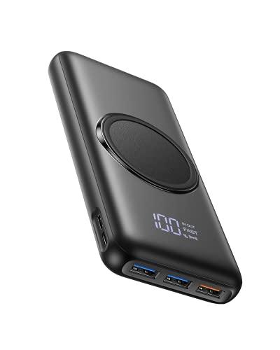 Charmast Batería Externa Inalámbrica 20000mAh Power Bank 15w Carga rápida en PD/QC 20W con Pantalla LED y 4 Puertos de Salida 2 Puertos de Entrada Compatible con Smartphones, Tablets y más
