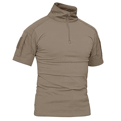 KEFITEVD Slim Fit Camouflage Airsoft À Manches Courtes Tops Hommes Militaire Tactique T-Shirts D'été De Chasse Chemise Kaki