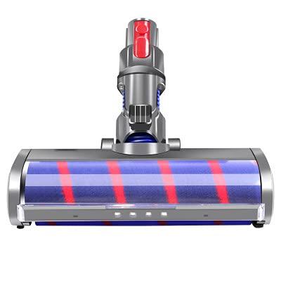 Cepillo Eléctrico Turbo a Rodillo,Aspiradora inalámbrica,Cabezal de Limpieza Rodillo Suave,Terciopelo eléctrico piso cepillo,Cepillo Motorizado compatible,con Luz LED Automática