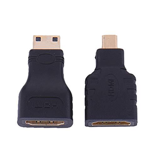 HDMI para Micro HDMI + HDMI al Adaptador de extensión del conectador del convertidor HD Mini Chapado en Oro de vídeo TV 1080P para Xbox 360 HDTV