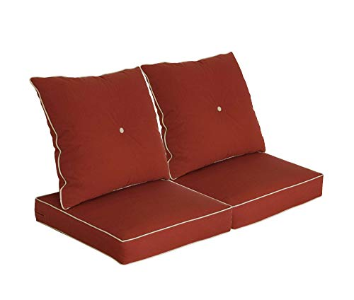 Bossima Patio Furniture Cushions for Deep Seat and Loveseat , Outdoor Water Repellent Fabric, High Back Design,Set of 2, Brick Red